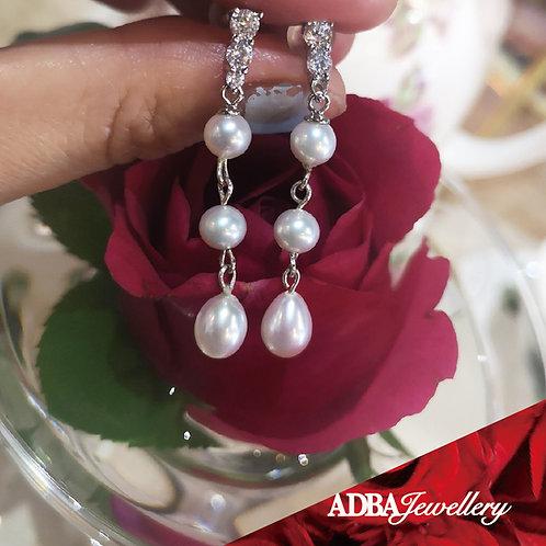 貴族鋯石淡水珠長耳環 Noble Style Fresh Water Pearl Long Earrings