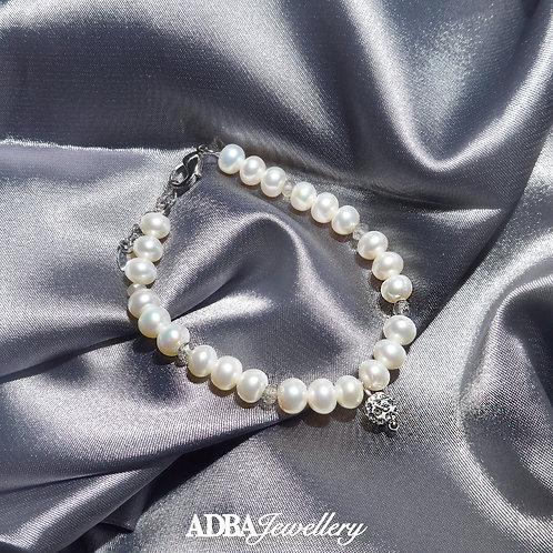 拉長石X淡水珠手鍊 Labradorite X Fresh Water Pearl Bracelet