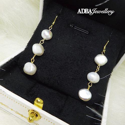 14KGF 巴洛克淡水珍珠耳環14KGF Baroque Pearl long Earrings