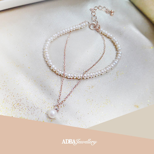 維納斯玫瑰金淡水珍珠手鏈 Venus Rose Gold Fresh Water Pearl Bracelet