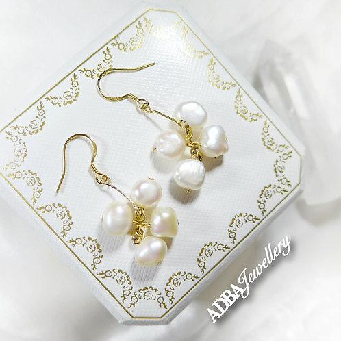 14KGF 巴洛克花花耳環 14KGF Baroque Pearl Blossom Earrings