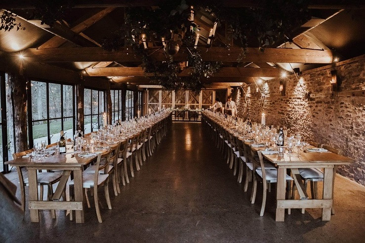 Indoor-marquee-long-table-wedding-set-up-barn