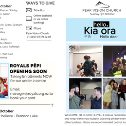 Peak Newsletter Sunday 3rd October