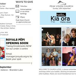 Peak Newsletter 26th September 2021