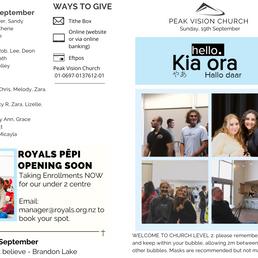Peak Newsletter 19th September 2021