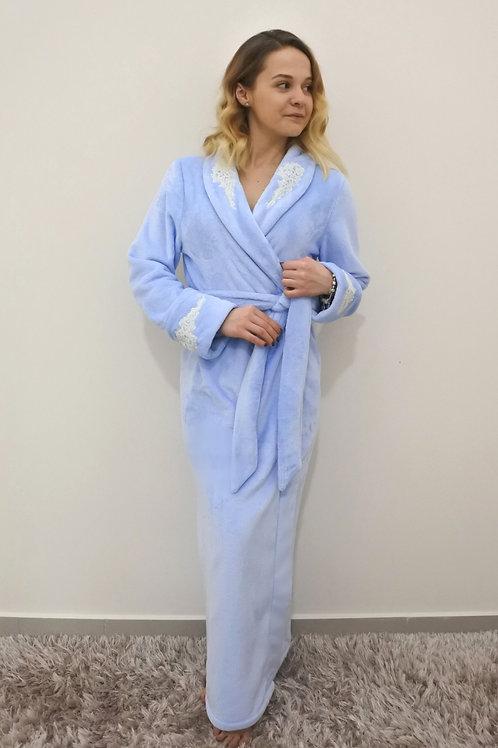 szlafrok damski xl dla mamy frotte z haftem niebieski