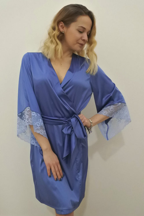 Szlafrok damski niebieski