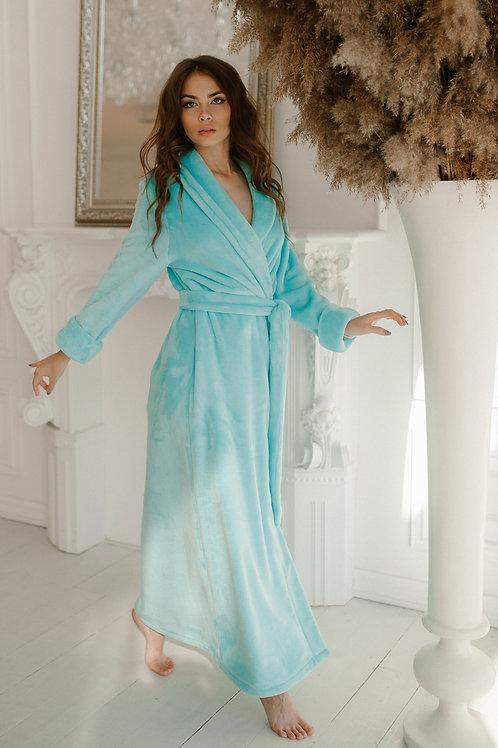 szlafrok damski długi ciepłyi niebieski