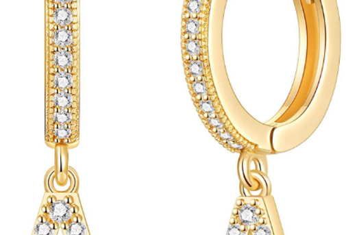 Simple small letter earring. With cubic zirconia and 14k gold plated stainless s