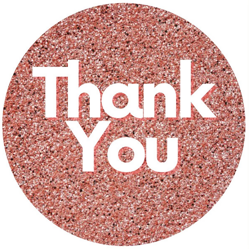 24 Rose Gold Thank You Stickers