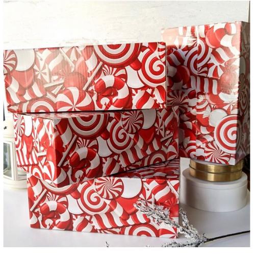 5 CT: 10x6x4 Candy Cane Designer Mailing Box