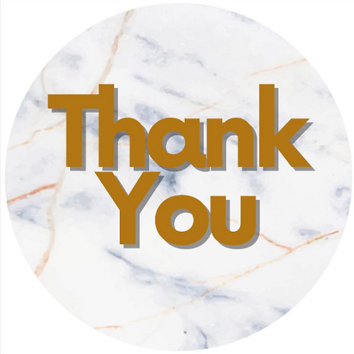 24 Marble Thank You Stickers