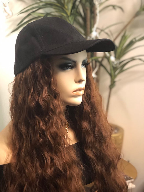 Hat wig with hair attached