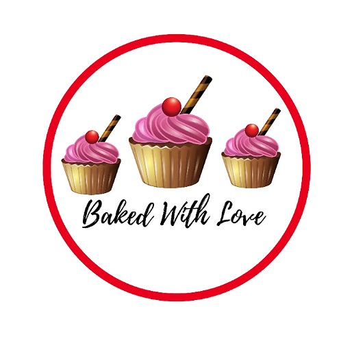 24 Baked With Love Stickers