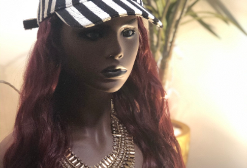 Wig hat with red loose wave hair