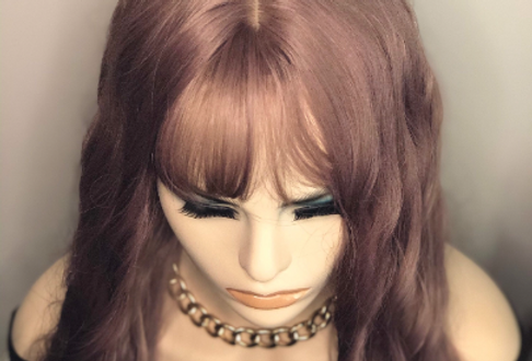 """Lavender 20"""" wig with bangs synthetic hair"""