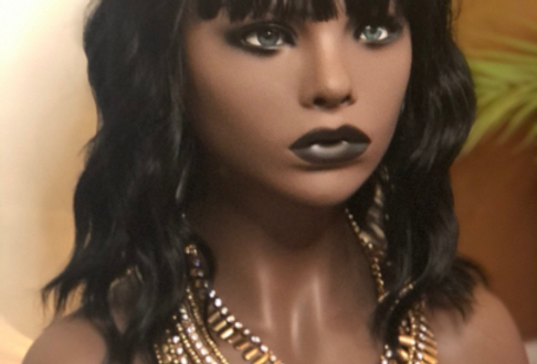 Synthetic Black Bodywave Wig With Bangs