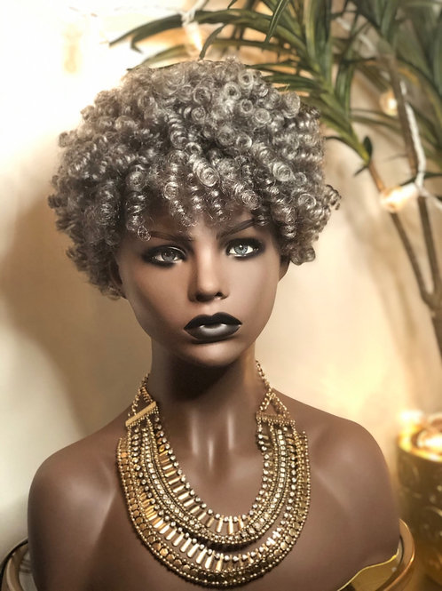 Gray crochet spiral curl wig