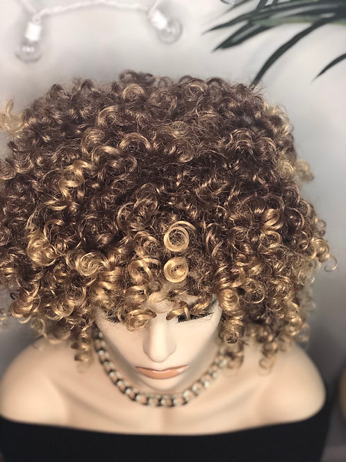 Curly blonde Afro wig