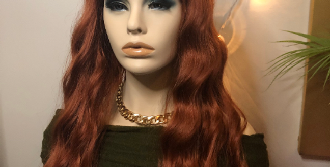 Copper wig with bangs synthetic hair