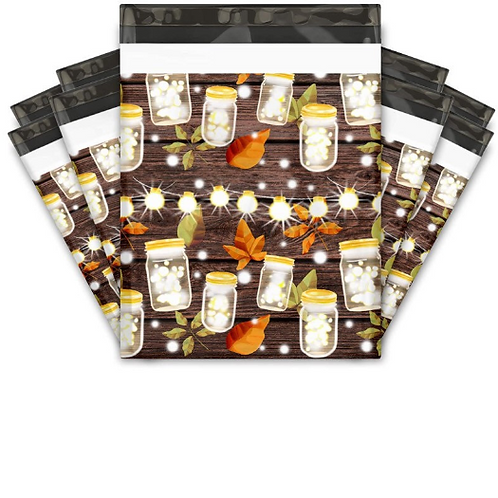 10x13- 10ct Fall Leaves and mason jar style Polymailer