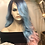 Thumbnail: Blue and pink ombré watercolor lace front synthetic wig