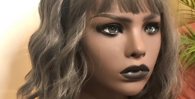 Synthetic Dark Gray Bodywave Wig With Bangs 99j/530