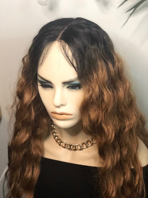 Lace front middle part ombre wig