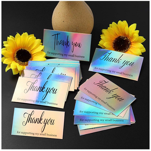 50 Holographic Thank you cards