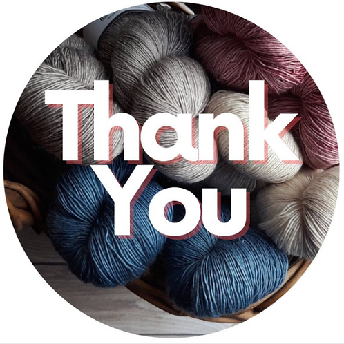 24 Crochet Thank You Stickers