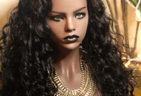 Lace front black long curly wig