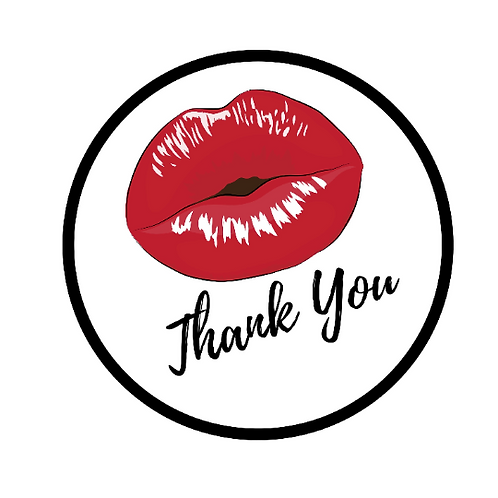 24 Kiss Thank You Stickers