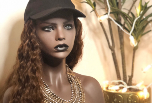 """Hat Wig with hair attached/sewn with 22"""" heat resistant (light brown) synthetic"""