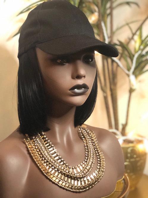 Wig hat with jet black bob length hair