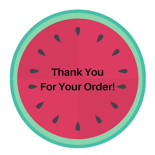 24 Watermelon Thank You Stickers