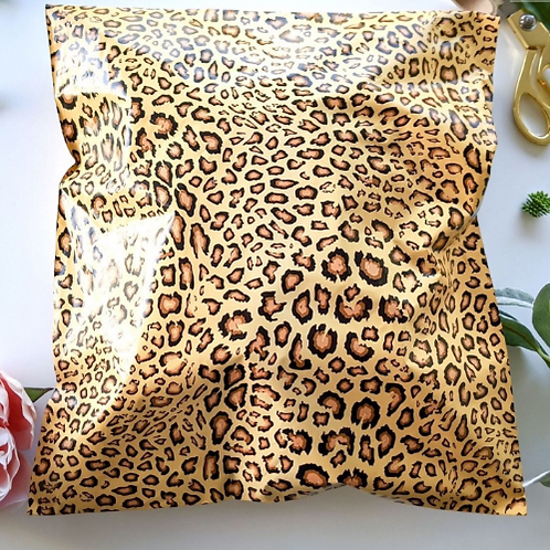 10ct 14x17 Large Leopard Poly Mailers