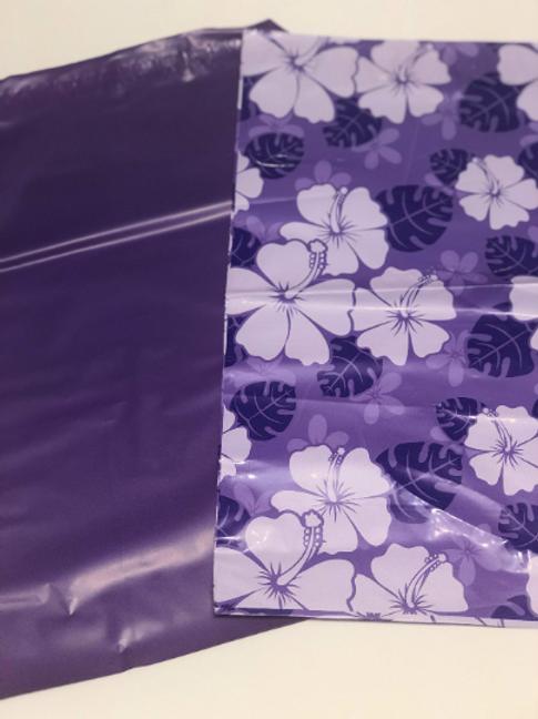 10ct Purple Dreams Poly Mailers 10x13 5 purple solid 5 purple flowers