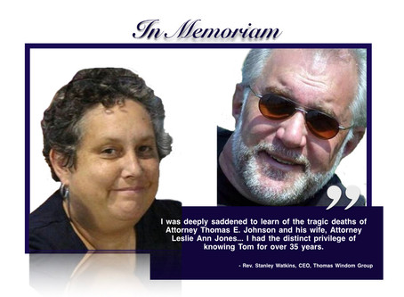 Statement on the Passing of Attorney Thomas E. Johnson and wife, Attorney Leslie Ann Jones