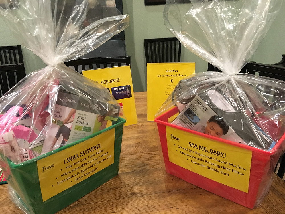 """Our fun raffle prizes.  Congratulations to our winners: Vidhya (Date Night Package); Sue (""""Spa Me, Baby"""" Package); Michele (""""I Will Survive"""" Package); and DRUMROLL please... one week at our vacation rental in Sedona to Dee!"""