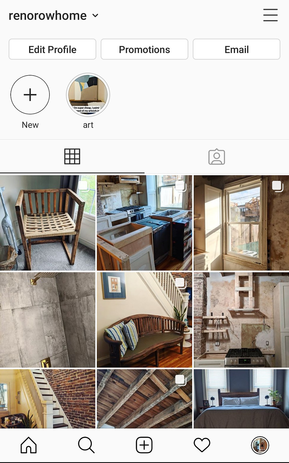 Screen capture of example Instagram feed