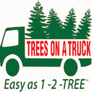 Trees on a truck logo, Christmas tree delivery service.