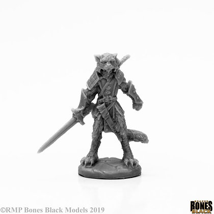 Reaper 44117, MAL CATFOLK WARRIOR, BONES BLACK