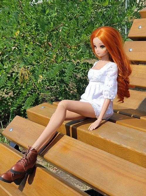White cotton Short dress for Smart Doll. 1/3 doll