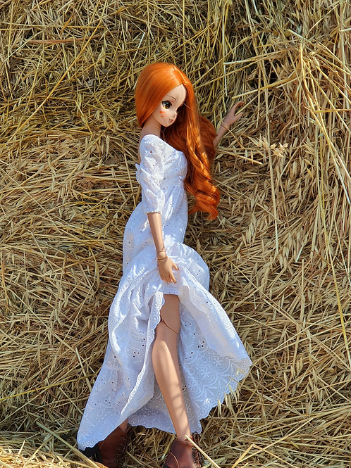 White cotton dress for Smart Doll.1/3