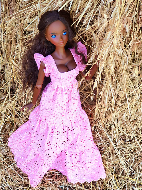 Pink cotton dress for Smart Doll. 1/3 doll