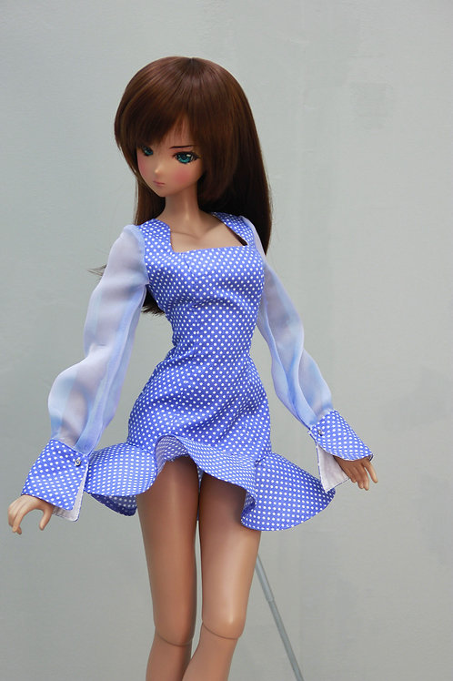 Dress, (cornflower blue) for Smart Doll, 1/3, BJD SD13