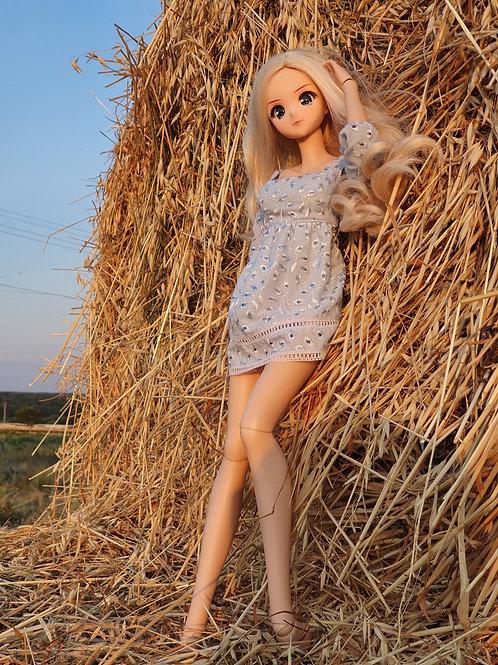 Blue cotton Short dress for Smart Doll. 1/3 doll