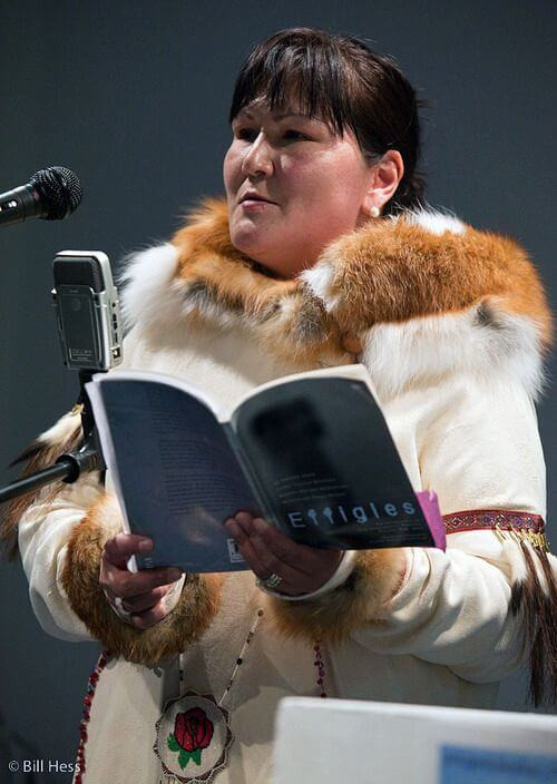 Dg Nanouk Okpik performing a reading from her book Effigies, image courtesy of pinterest.cl