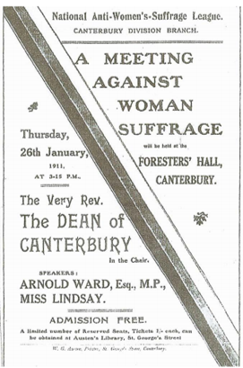 Anti-Suffragette poster for the 1911 meeting in Canterbury