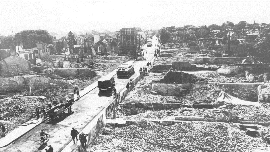 Canterbury High Street after the Blitz of Canterbury in 1942